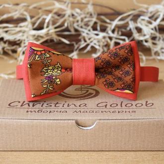 Бабочка галстук двойная терракотово-оранжевая