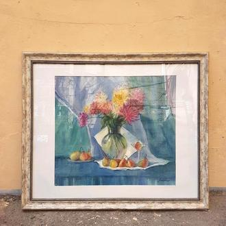 "Картина акварель ""Натюрморт с грушками"""
