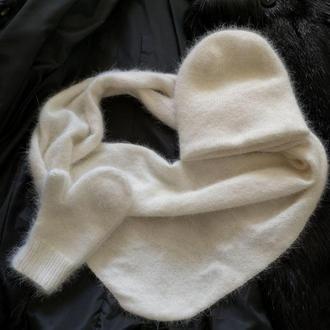Вязаный набор варежки шапка бактус  ангора кролик  ручная работа