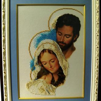 Икона Святое Семейство, вышитая чешским бисером