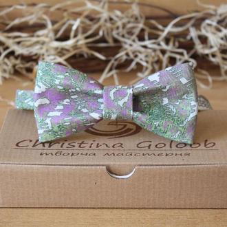 Бабочка галстук  сиренево-зеленая