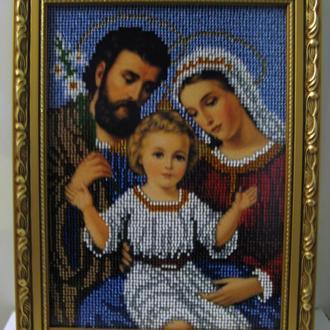 Икона, вышитая чешским бисером Святое семейство