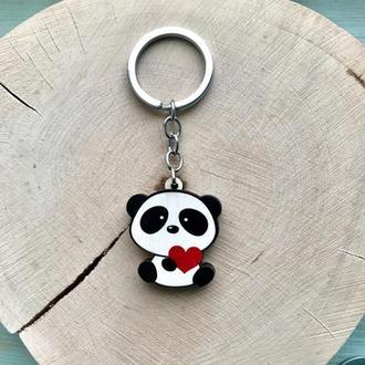"""Деревянный брелок """"Панда с сердечком"""""""