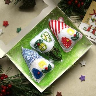 Набор домиков из фетра, новогодний подарок