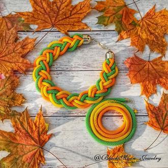 Комплект украшений колье-коса, браслет-намотка Осенний Вальс