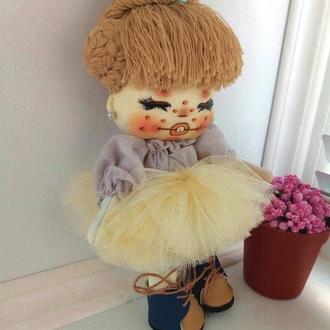 Кукла кокетка с голубым бантиком