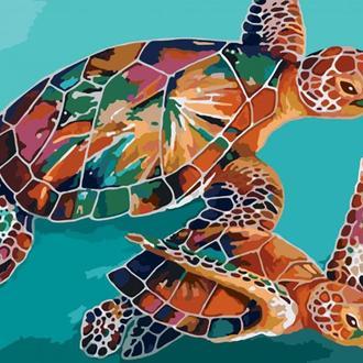 Набор для акриловой живопись по номерам Идейка Черепахи 40 х 50 см (КНО2455)