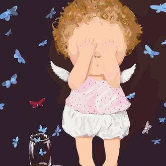 Набор для акриловой живопись по номерам Идейка Гапчинская Неслухняні метелики 40 х 50 см картонная коробка (KNG001)