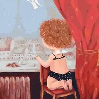Набор для акриловой живопись по номерам Идейка Гапчинская Ранок в Парижі 40 х 50 см картонная коробка (KNG021)