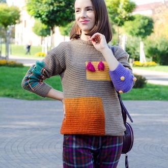 Модный вязаный свитер в стиле колор блок, теплый зимний свитер из шерсти альпака и мериноса