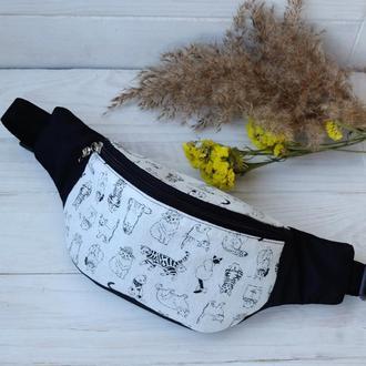 Сумка-бананка c котами , поясная сумка 67, сумка бананка з кішками