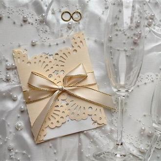 Свадебные пригласительные цвета айвори.