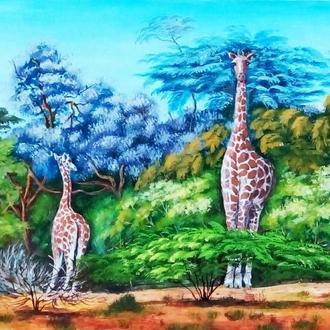 """Живопись Картина в детскую комнату """"Жирафы в природе""""  40 х 30 см"""