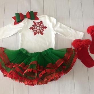 Комплект на фотосесию новогодний боди и юбка пачка