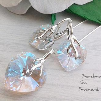 Серьги и кулон с кристаллами Сваровски