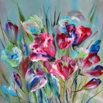 """Картина маслом """"Краски счастья""""  цветы 80х100 см"""