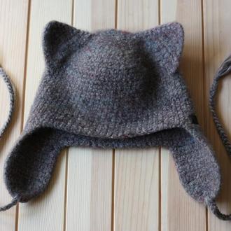 Детская валяная шапка Кошка