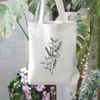 Эко шоппер, Экосумка с  рисунком цветы / Эко сумка / Сумка женская / сумка-шоппер