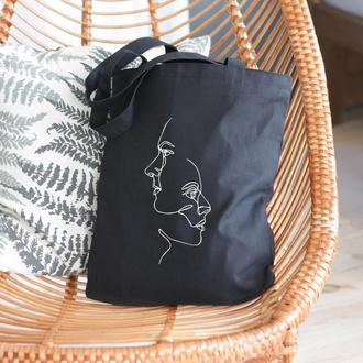 Эко сумка лица, Шоппер, Сумка для продуктов, Хлопковая сумка