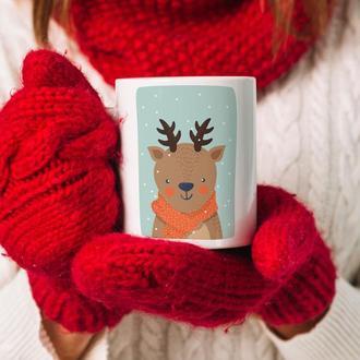 """Новогодняя чашка с принтом """"Зимний олень"""""""