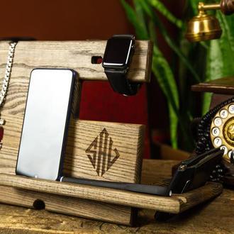 Органайзер для офиса, органайзер для дома, корпоративный подарок, деревянная подставка