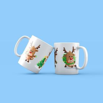 """Новогодняя чашка с принтом """"Смешные олени"""""""