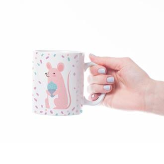 """Новогодняя чашка с принтом """"Розовая мышка"""""""