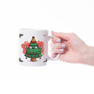 """Новогодняя чашка с принтом """"Радостная ёлка"""""""