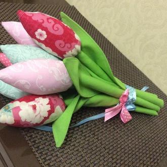 Букеты текстильных тюльпанов