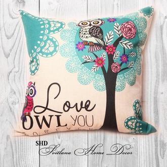 """Декоративна подушка для святкового декору """"Love OWL you forever"""""""