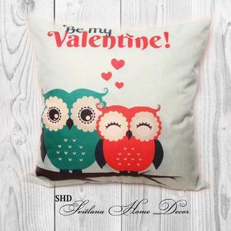 """Декоративна подушка для святкового декору """"Be my Valentine"""""""