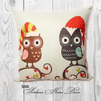 """Декоративна подушка для святкового декору """"Дві сови"""""""