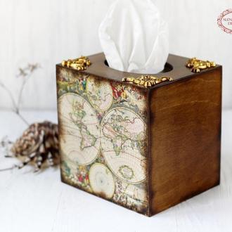 Салфетница Карта Мира , подарок путешественнику