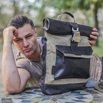Рюкзак из кожи и канваса