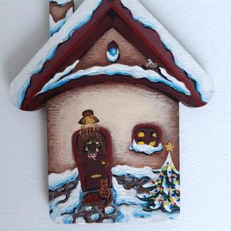"""Новогодний магнит на холодильник 2 в 1  """"Домик Святого Николая"""""""