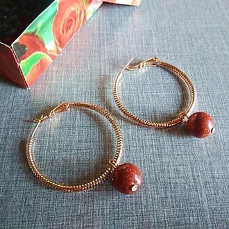 Серьги-кольца с авантюрином, медзолото