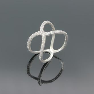 Серебряное кольцо с фианитами Нежность