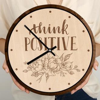 Круглые деревянные часы с гравировкой, мотивация цветы, принимаем индивидуальные заказы