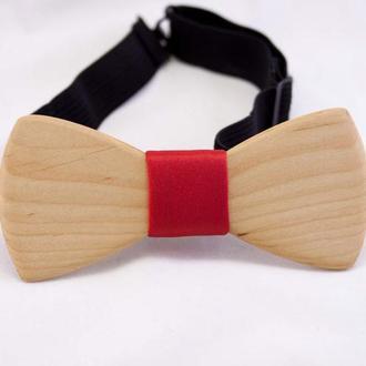 Red style Дерев'янний метелик, галстук-бабочка из дерева