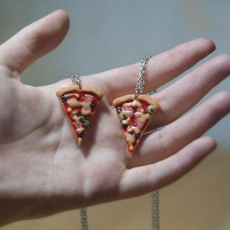 Парные кулоны кусочки пиццы для влюбленных или друзей, кулон кусочек пиццы, кулоны для пары