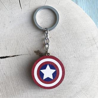"""Деревянный брелок """"Captain America"""""""
