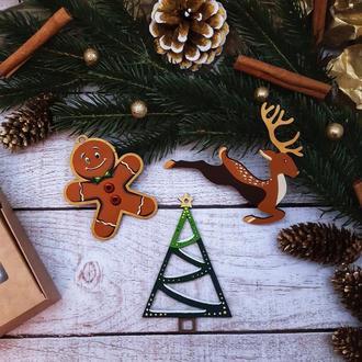 Подарочный набор новогодних деревянных игрушек №2