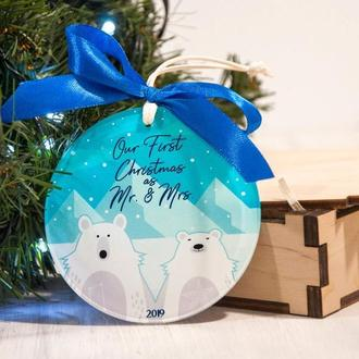 Новогодняя акриловая игрушка с персональной цветной печатью для пары «Our first Christmas» 100.00грн