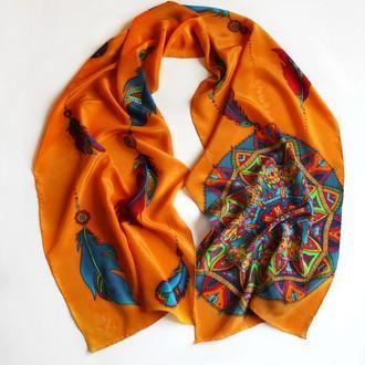 Оранжевый шелковый шарф ручной росписи с ловцом снов, женский платок с мандалой