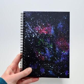 Блокнот А5 с черными страницами и белая ручка. Авторская иллюстрация Вселенная. 90 листов.