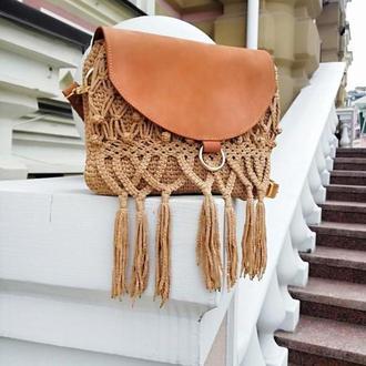 Кожаная сумка бохо с макраме
