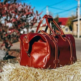 Кожаный саквояж, кожаная дорожная спортивная сумка
