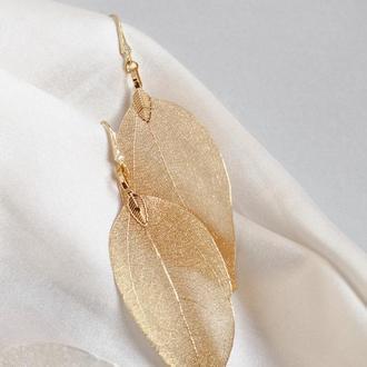 Позолоченные серьги «Листья»