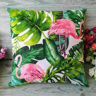 Подушка фламинго и тропики, 35 см * 35 см
