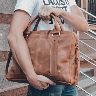 Мужская кожаная сумка, коричневая сумка для документов и ноутбука